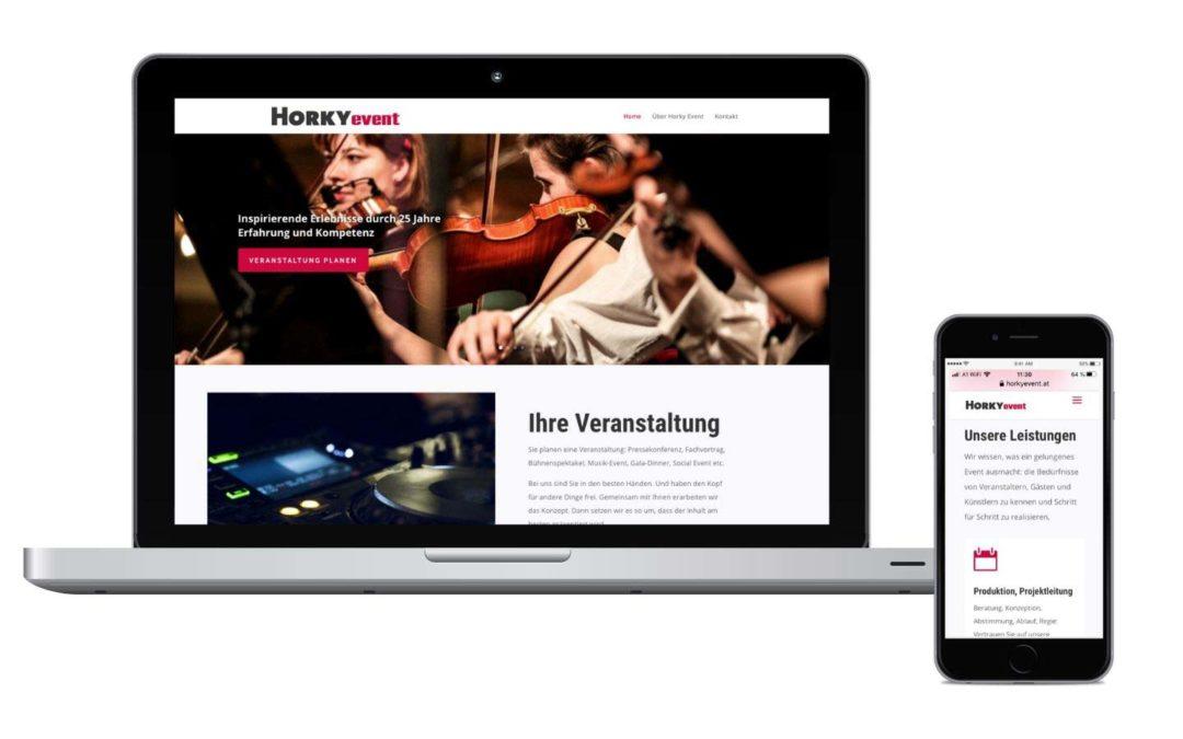 Neu in unserem Portfolio: Die Website horkyevent.at